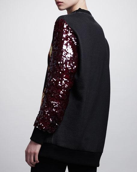 Printed Sequin-Sleeve Sweatshirt