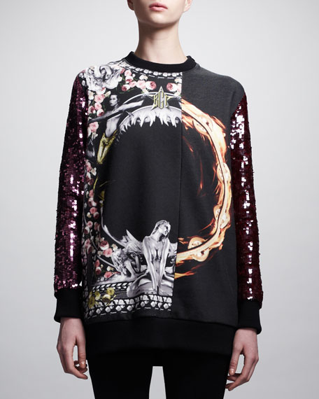Printed Sequin-Sleeve Sweatshirt