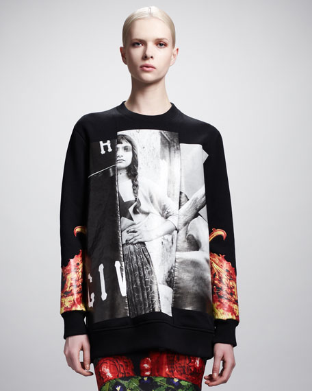 Printed Girl Flame-Sleeve Sweatshirt