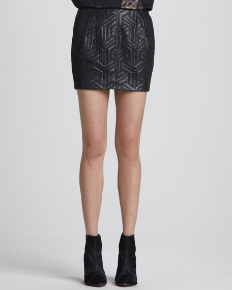 Quilted Lambskin Leather Miniskirt, Black