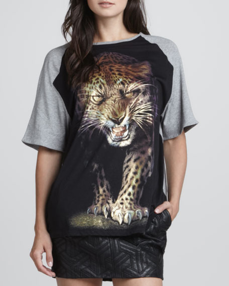 Big Cat Graphic T-Shirt, Gray/Black