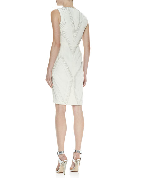 Deco Embroidered V-Neck Dress, Ivory
