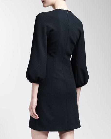 Embellished Teardrop-Neck Dress