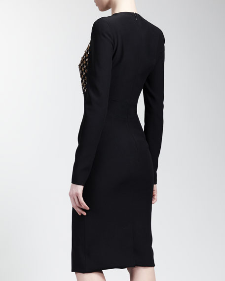 Long Sleeve Embroidered-Front Dress