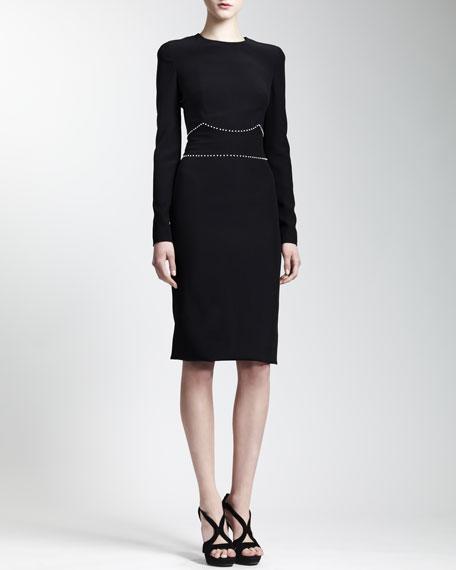 Long Sleeve Pearly-Belt Dress