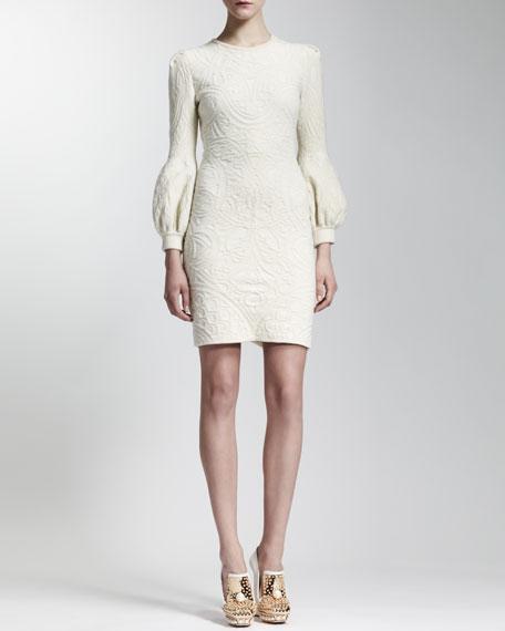 Poet-Sleeve Jacquard Knit Dress