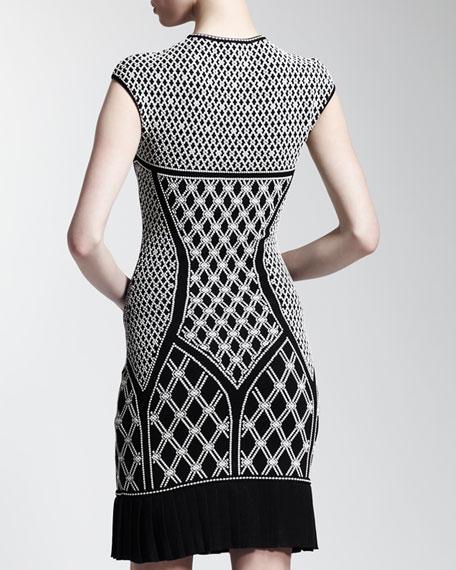 Pleated-Hem Printed Knit Dress