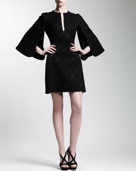Split Bell-Sleeve Jacquard Dress