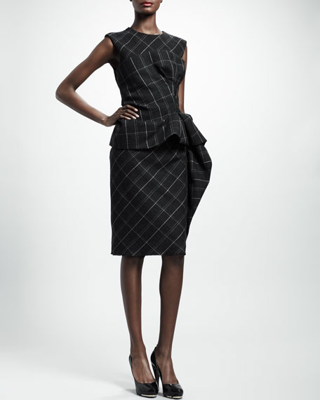 Trompe l'Oeil Check Peplum Dress, Dark Gray