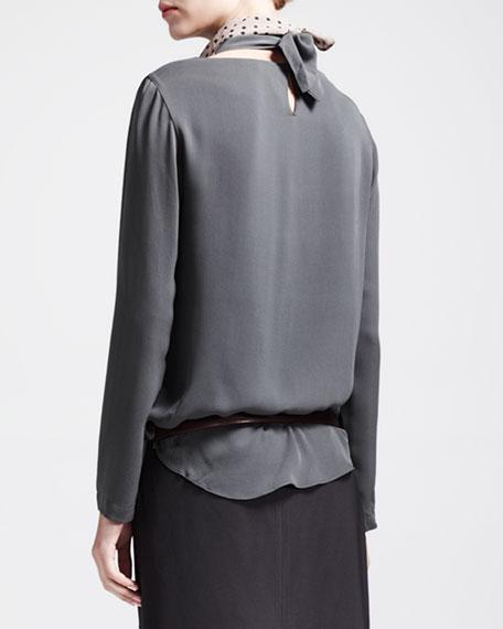 Long-Sleeve Silk Blouse with Detachable Collar
