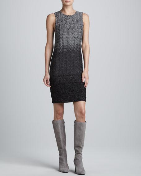 Sleeveless Metallic Degrade Dress, Steel