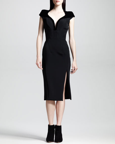 Tribeca Seamed Slit-Front Pencil Dress