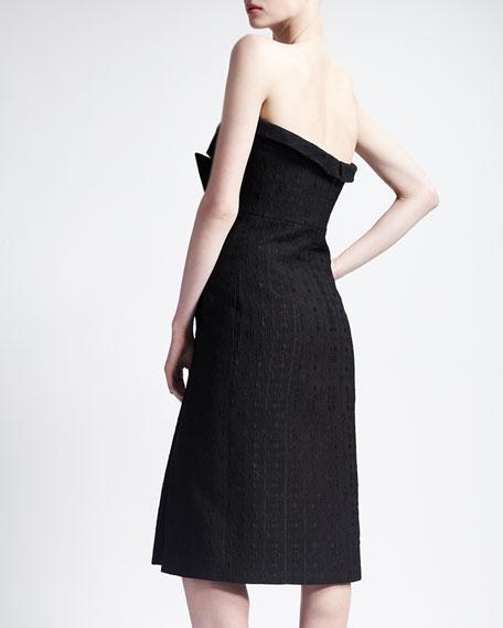 Strapless Jacquard Lapel Cocktail Dress, Black