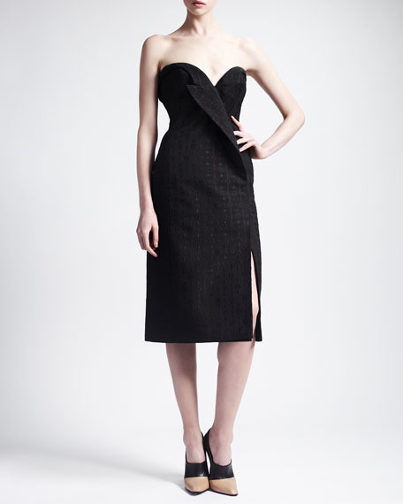 Strapless Jacquard Lapel Cocktail Dress, Black