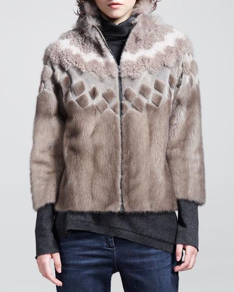 Mink Fur Intarsia Zip Jacket
