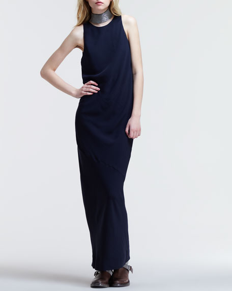 Silk Crepe Detachable-Collar Gown