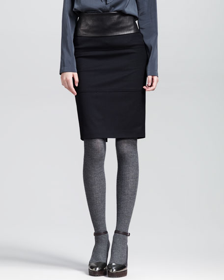 Leather-Waist Stretch Pencil Skirt