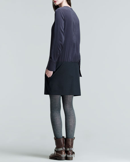 Long-Sleeve Wool-Bottom Dress