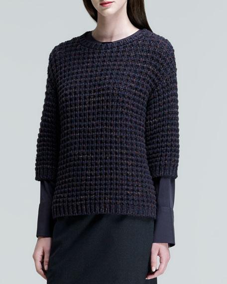 Three-Quarter-Sleeve Diamond-Knit Sweater