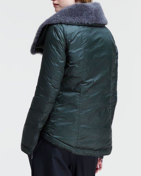 Nylon Puff Jacket with Cashmere-Fur Collar