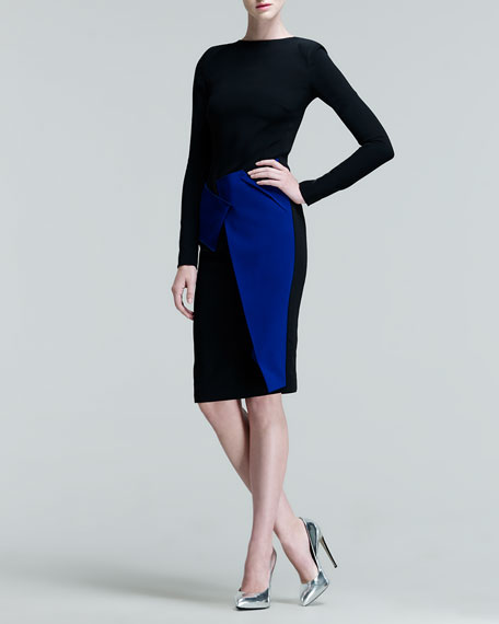 Dailids Two-Tone Folded-Skirt Dress