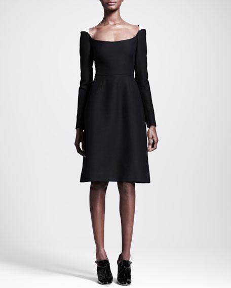 Scoop-Neck Contrast-Shoulder Dress