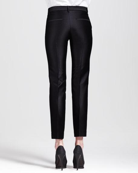 Paolo Slim Creased Ankle Pants, Black