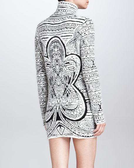 Graphic-Print Long-Sleeve Dress, White/Black