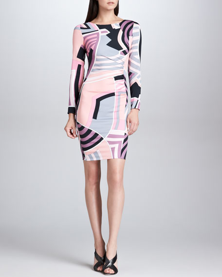 Long-Sleeve Side-Ruched Print Dress, Pink/Black/Ivory