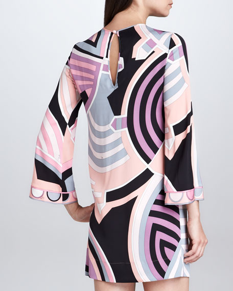 Bracelet-Sleeve Print Dress, Pink/Black/Ivory