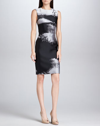 Fitted Abstract Jacquard Sheath Dress, Black/Gray/White