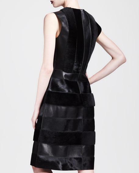 Fur & Leather Striped Combo Dress