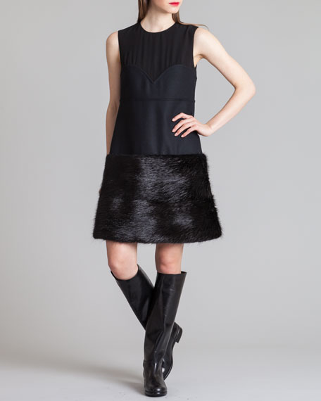 Fur-Bottom Combo Bustier Dress