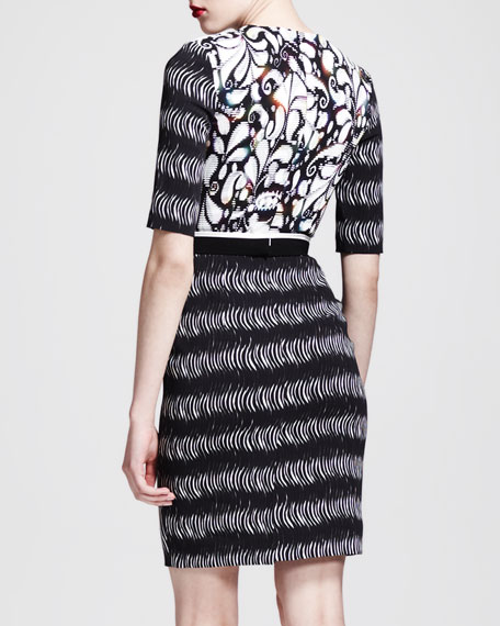 Printed Belted Half-Sleeve Dress