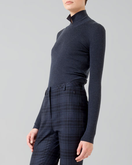 Cashmere-Silk Knit Polo-Style Pullover, Denim