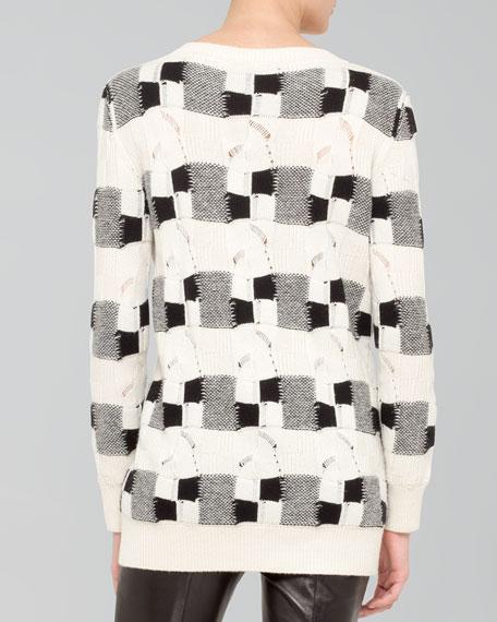 Check Cashmere Tunic, Ecru/Black