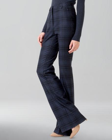 Plaid Wool Flannel Pants, Denim/Black
