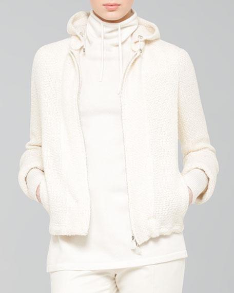 Wool-Blend Boucle Zip Jacket, Ecru
