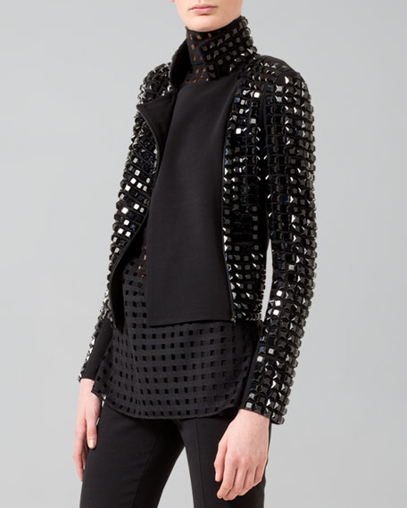 Hilton Studded Knit-Back Moto Jacket