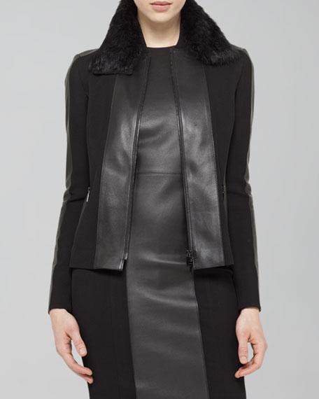 Faux-Leather-Trim Blouson Jacket, Black