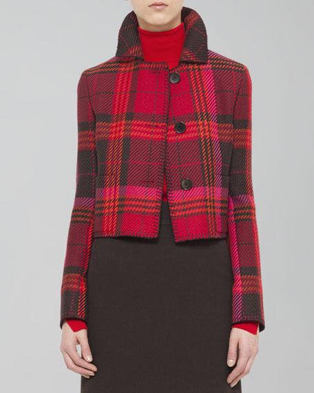 Cropped Wool Plaid Jacket