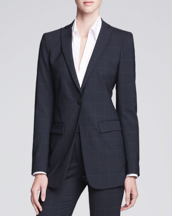 Long Unstructured One-Button Jacket, Navy/Multi