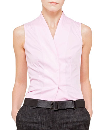 Sleeveless Stretch Snap Blouse