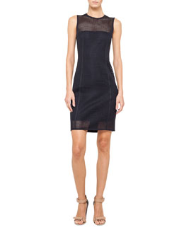 Akris punto Sleeveless Mesh Sheath Dress, Navy