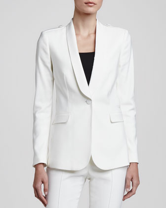One-Button Crepe Blazer