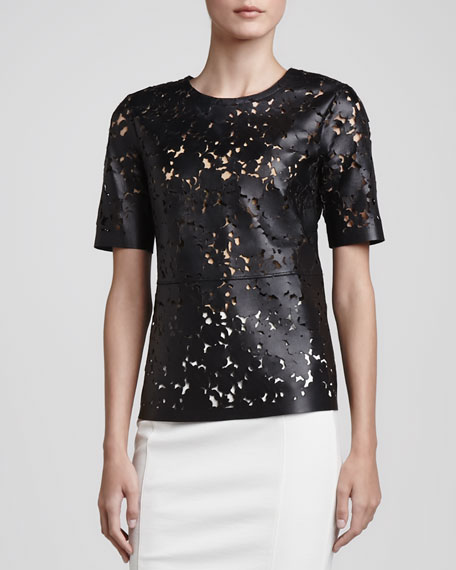 Laser-Cut Short-Sleeve Leather Top
