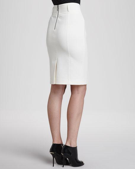 Jersey Back-Zip Pencil Skirt