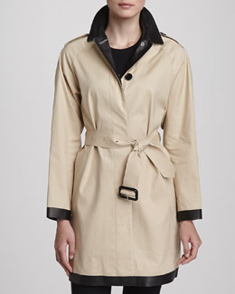 Burberry London Leather Collar Trenchcoat