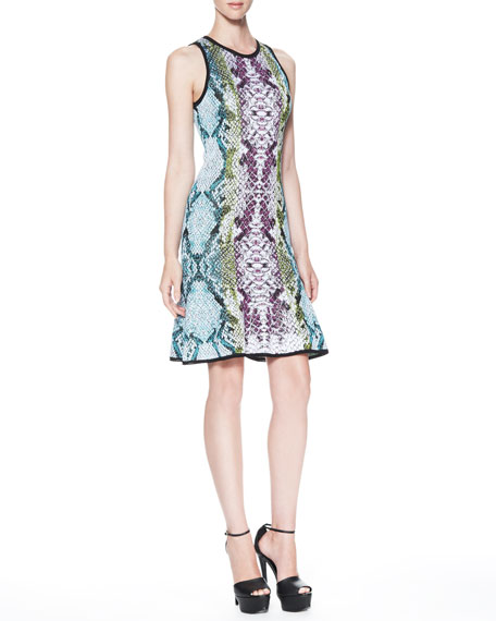 Snake-Print Keyhole-Back Dress