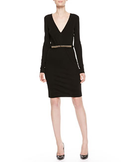 Roberto Cavalli Plunging Bead-Waist Dress, Black